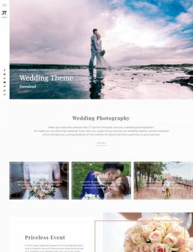 JT Wedding Joomla! Template with quickstart package for Photography, Marriage Planner Agency Website