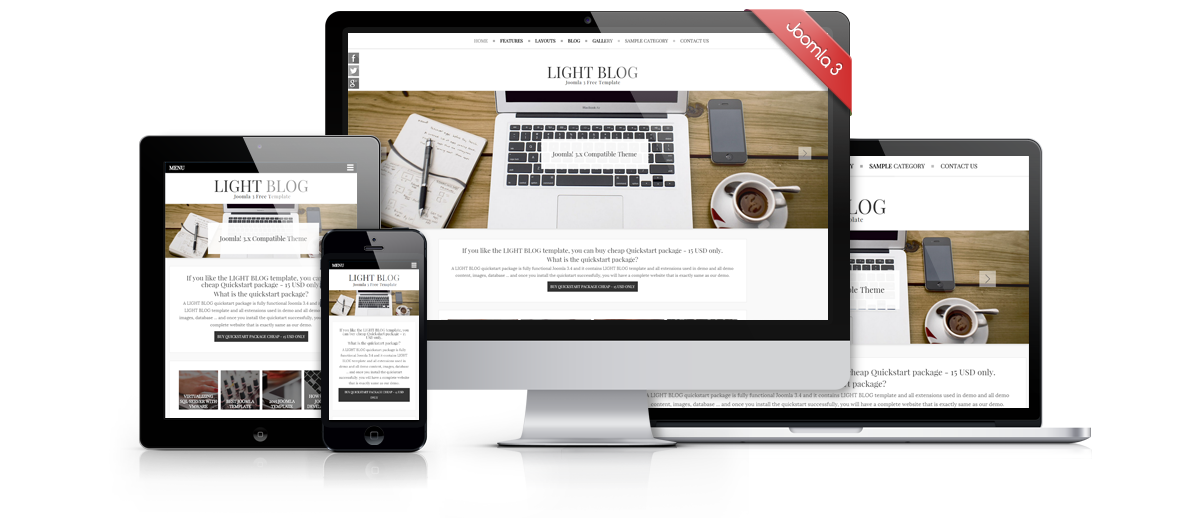 Light blog free joomla 3 responsive bootstrap template for Free responsive joomla templates