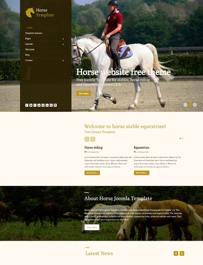 Horse Stable Equestrian Clubs Free Joomla 3.x Template